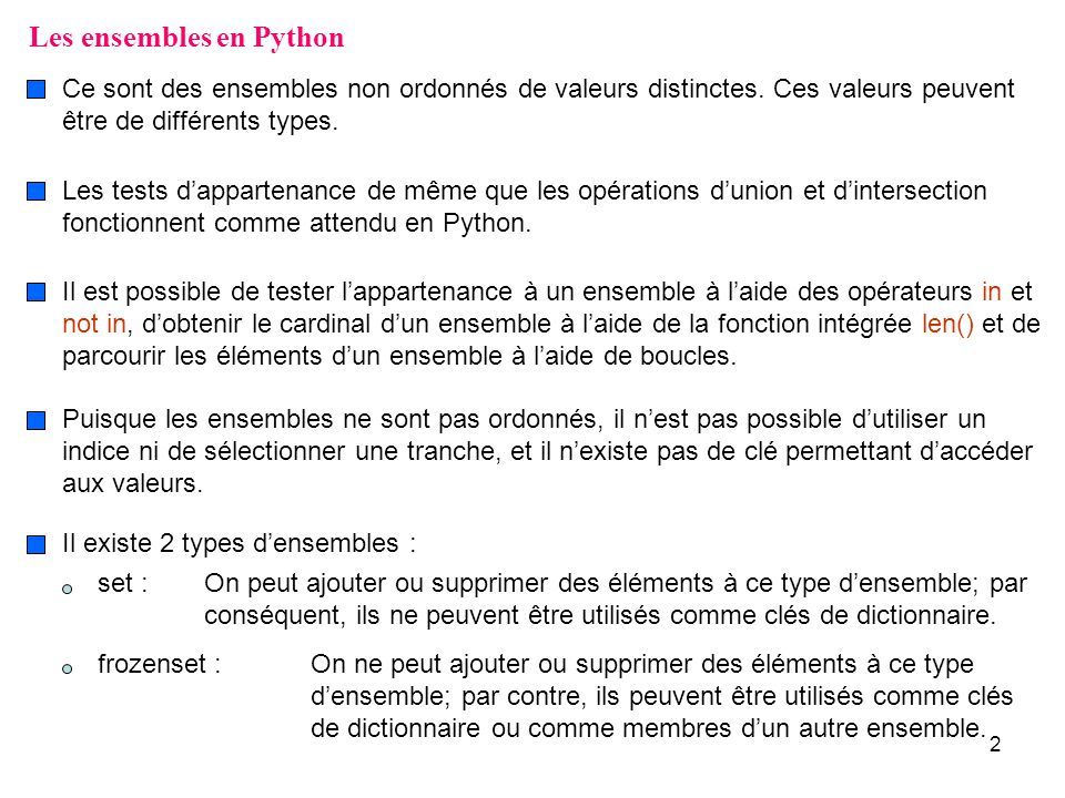 Les ensembles en Python