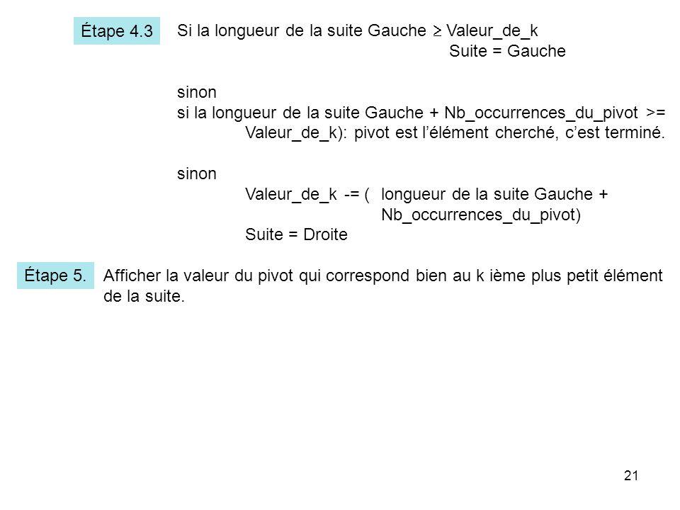 Étape 4.3 Si la longueur de la suite Gauche  Valeur_de_k. Suite = Gauche. sinon. si la longueur de la suite Gauche + Nb_occurrences_du_pivot >=