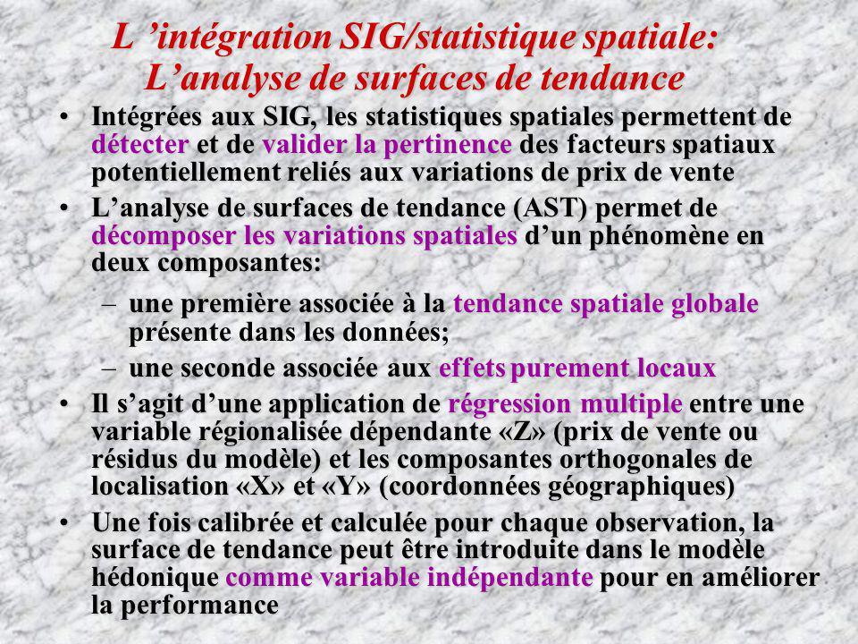 L 'intégration SIG/statistique spatiale: L'analyse de surfaces de tendance