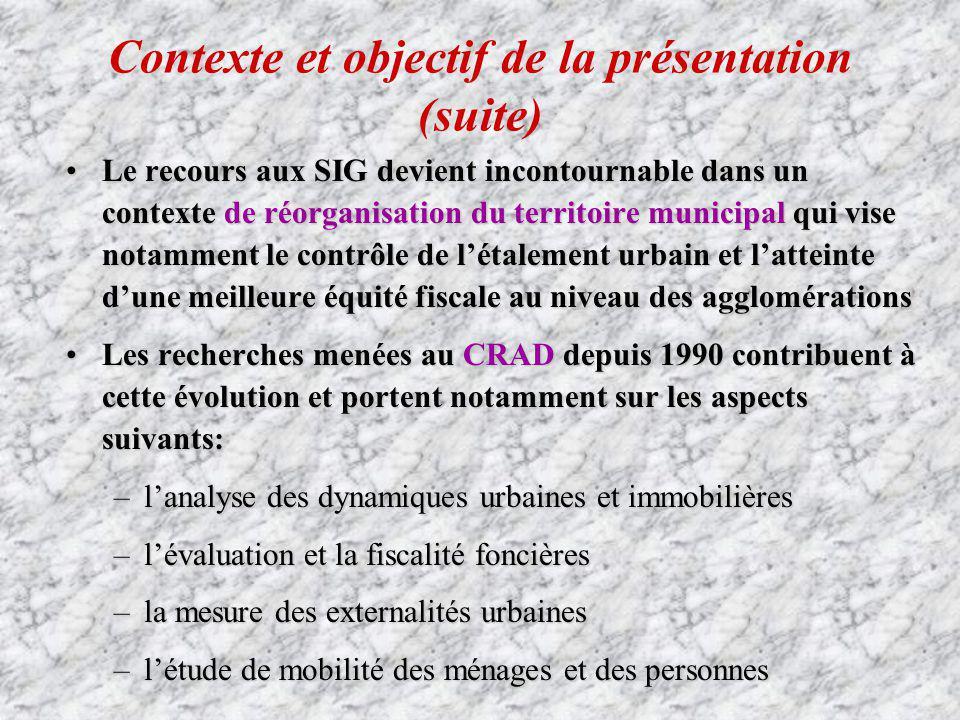 Contexte et objectif de la présentation (suite)