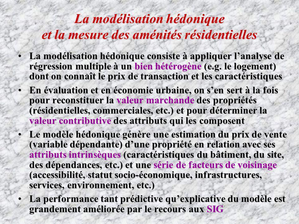La modélisation hédonique et la mesure des aménités résidentielles