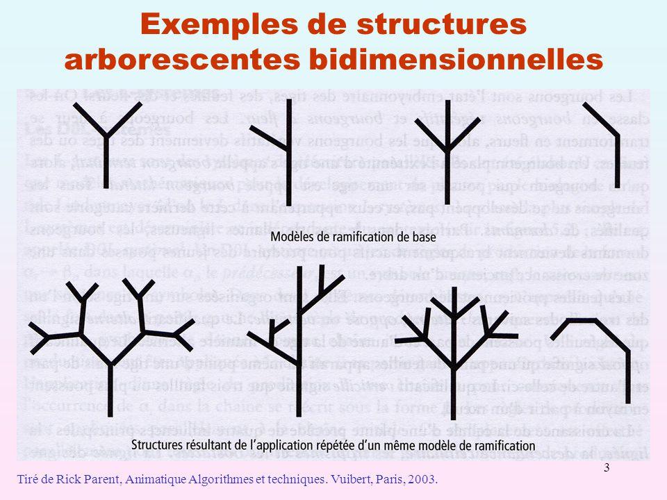 Exemples de structures arborescentes bidimensionnelles