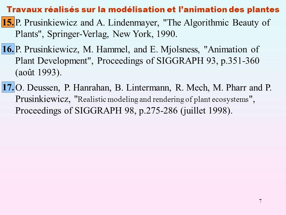 Travaux réalisés sur la modélisation et l'animation des plantes