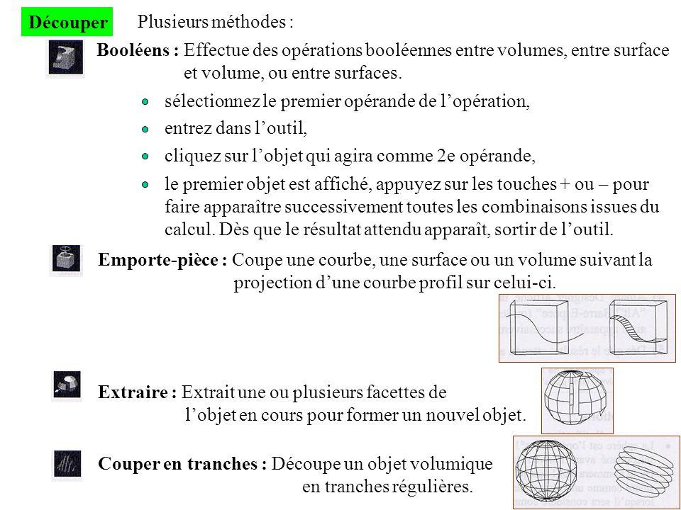 Découper Plusieurs méthodes : Booléens : Effectue des opérations booléennes entre volumes, entre surface.