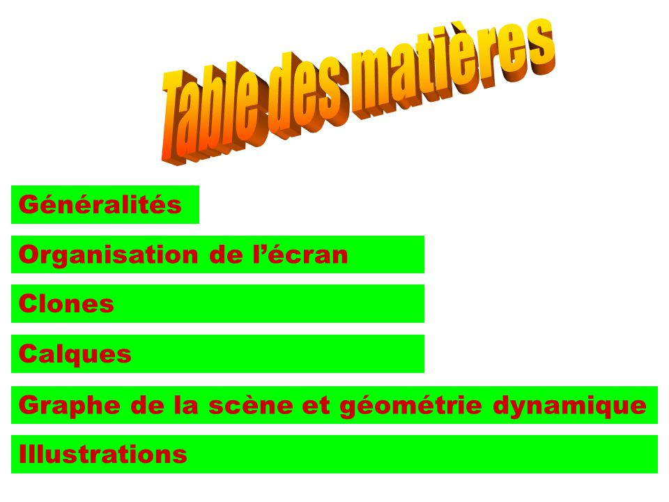 Table des matières Généralités Organisation de l'écran Clones Calques
