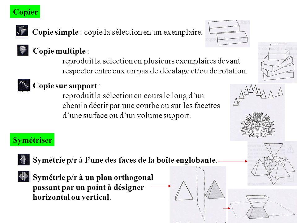 Copier Copie simple : copie la sélection en un exemplaire. Copie multiple : reproduit la sélection en plusieurs exemplaires devant.