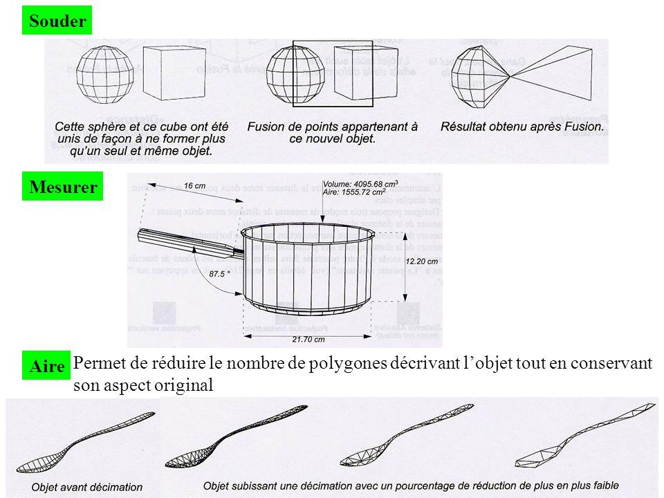 Souder Mesurer. Aire. Permet de réduire le nombre de polygones décrivant l'objet tout en conservant.