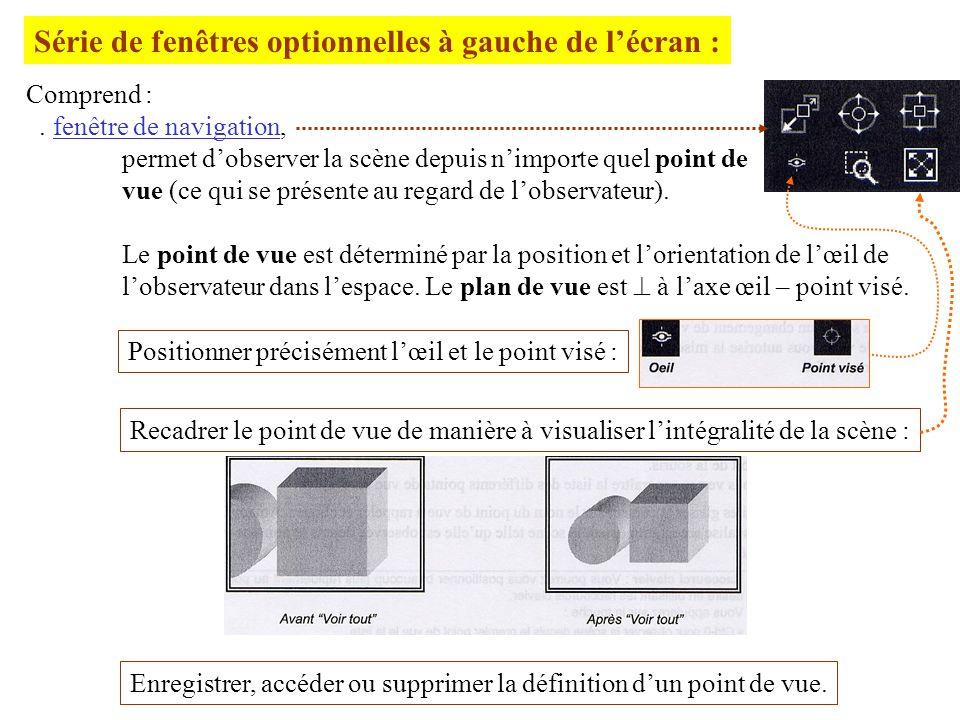 Série de fenêtres optionnelles à gauche de l'écran :