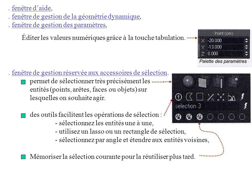 . fenêtre d'aide, . fenêtre de gestion de la géométrie dynamique, . fenêtre de gestion des paramètres,