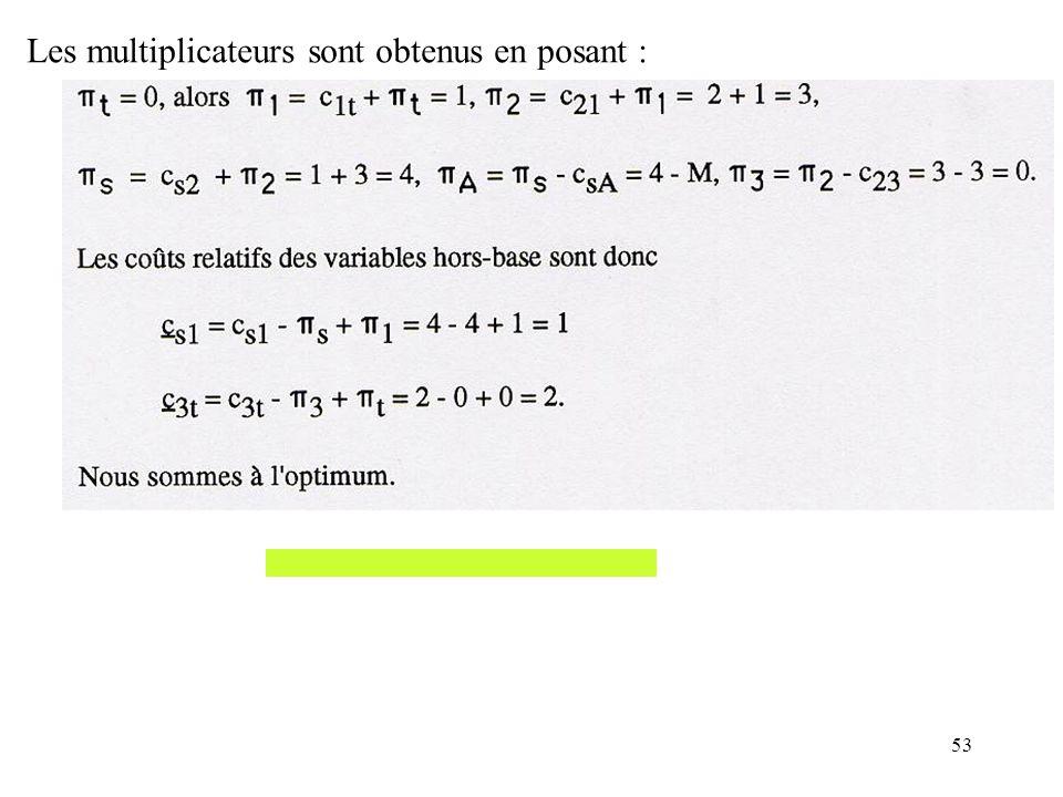 Les multiplicateurs sont obtenus en posant :