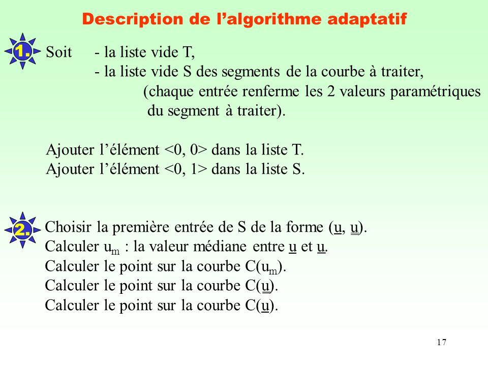 Description de l'algorithme adaptatif