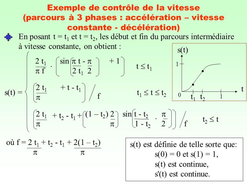 En posant t = t1 et t = t2, les début et fin du parcours intermédiaire