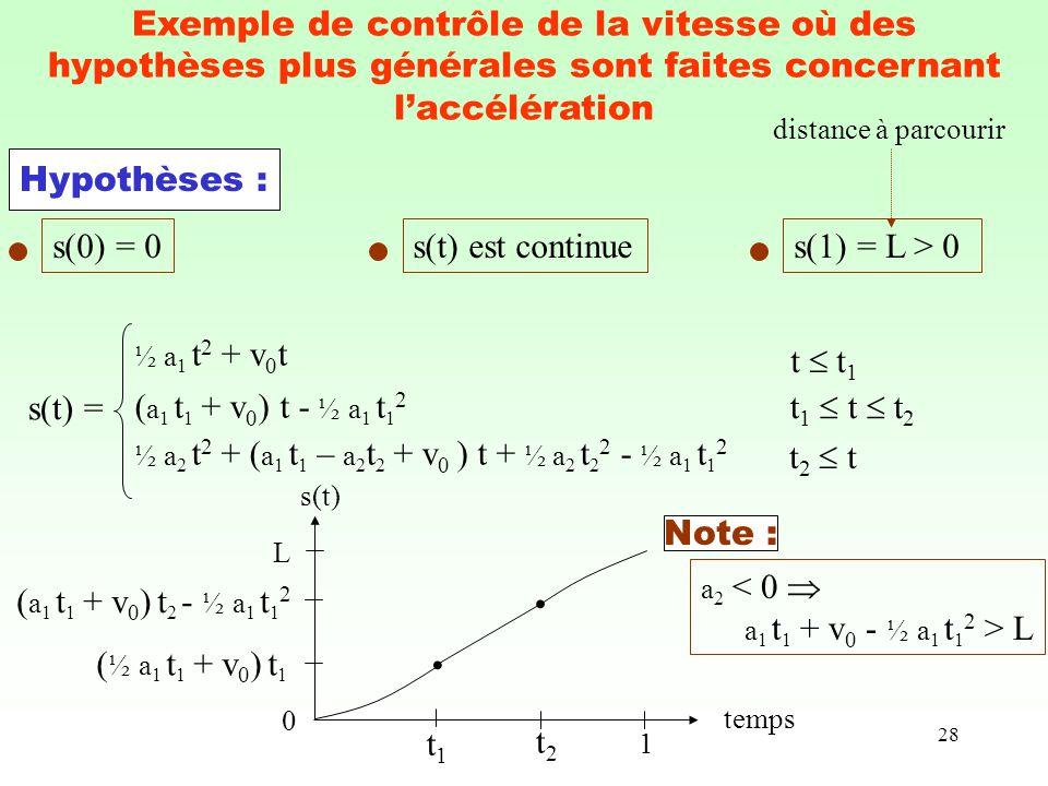 Exemple de contrôle de la vitesse où des hypothèses plus générales sont faites concernant l'accélération