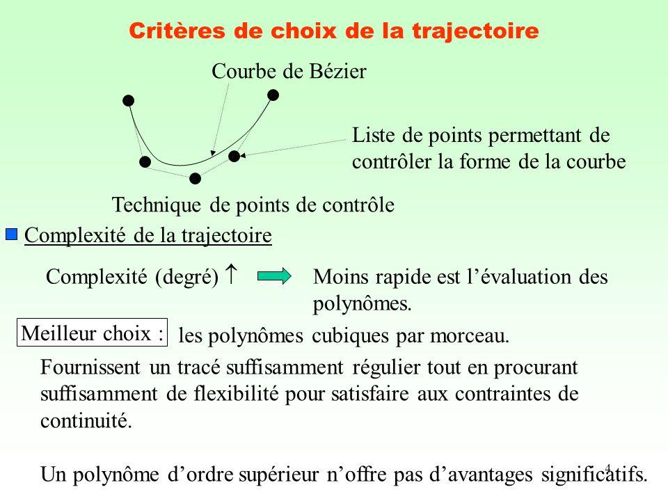 Critères de choix de la trajectoire