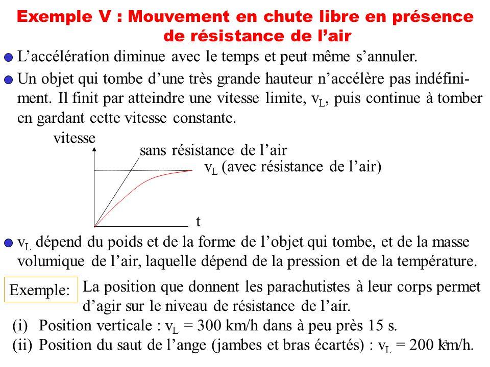 Exemple V : Mouvement en chute libre en présence