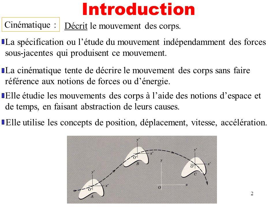 Introduction Cinématique : Décrit le mouvement des corps.