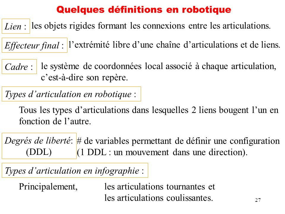 Quelques définitions en robotique