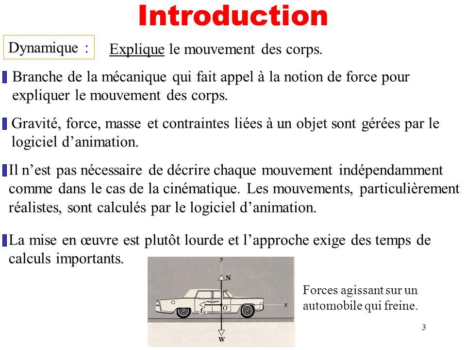 Introduction Dynamique : Explique le mouvement des corps.
