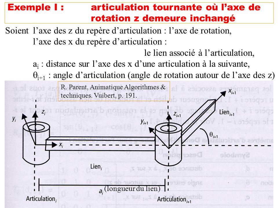 Soient l'axe des z du repère d'articulation : l'axe de rotation,