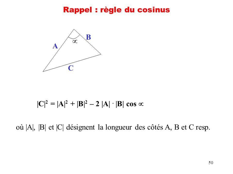 Rappel : règle du cosinus