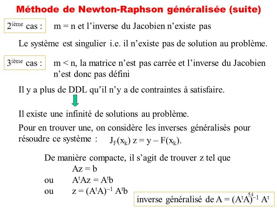 Méthode de Newton-Raphson généralisée (suite)