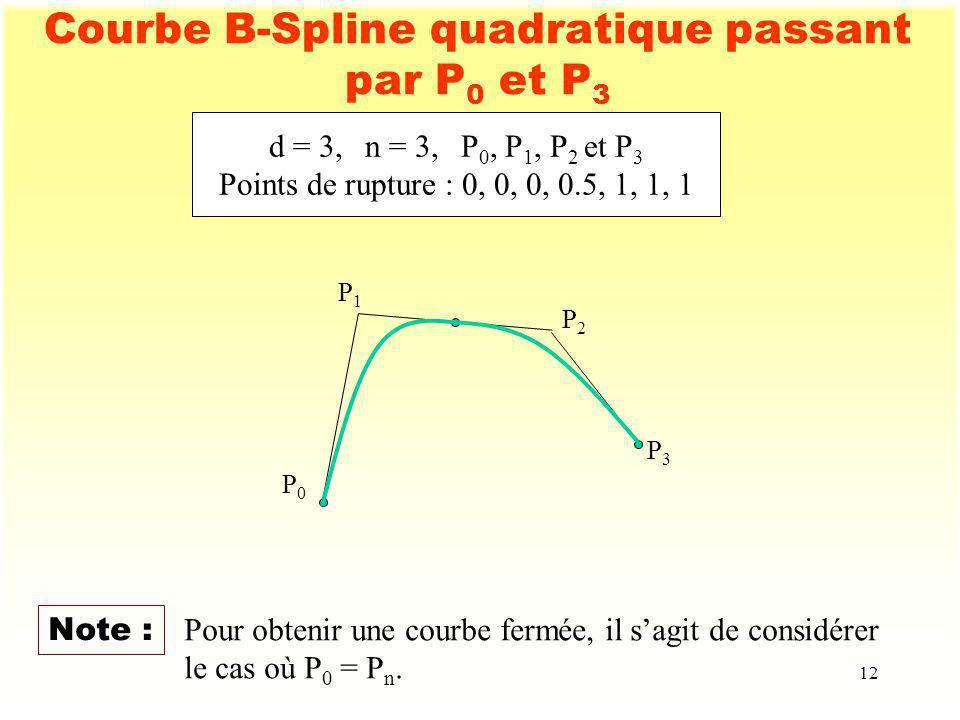 Courbe B-Spline quadratique passant par P0 et P3