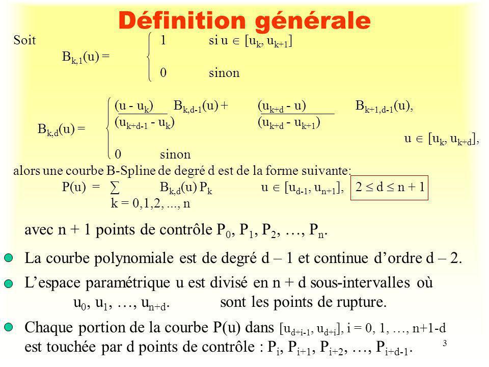 Définition générale avec n + 1 points de contrôle P0, P1, P2, …, Pn.