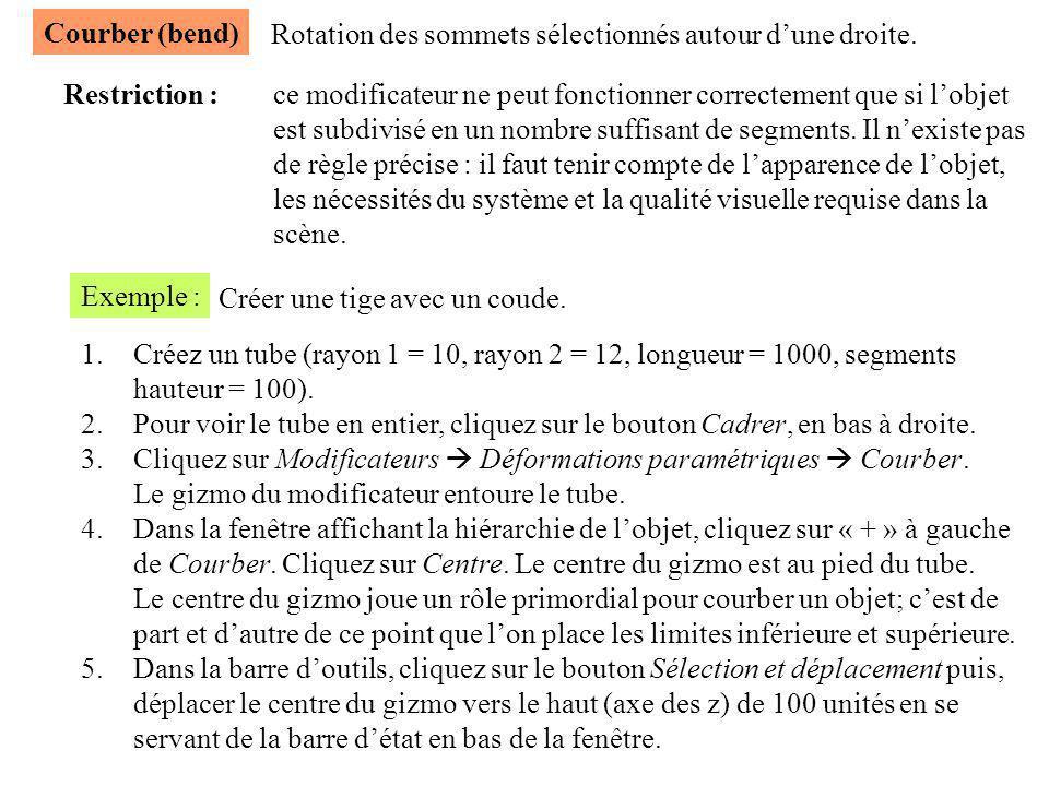 Courber (bend) Rotation des sommets sélectionnés autour d'une droite. Restriction : ce modificateur ne peut fonctionner correctement que si l'objet.