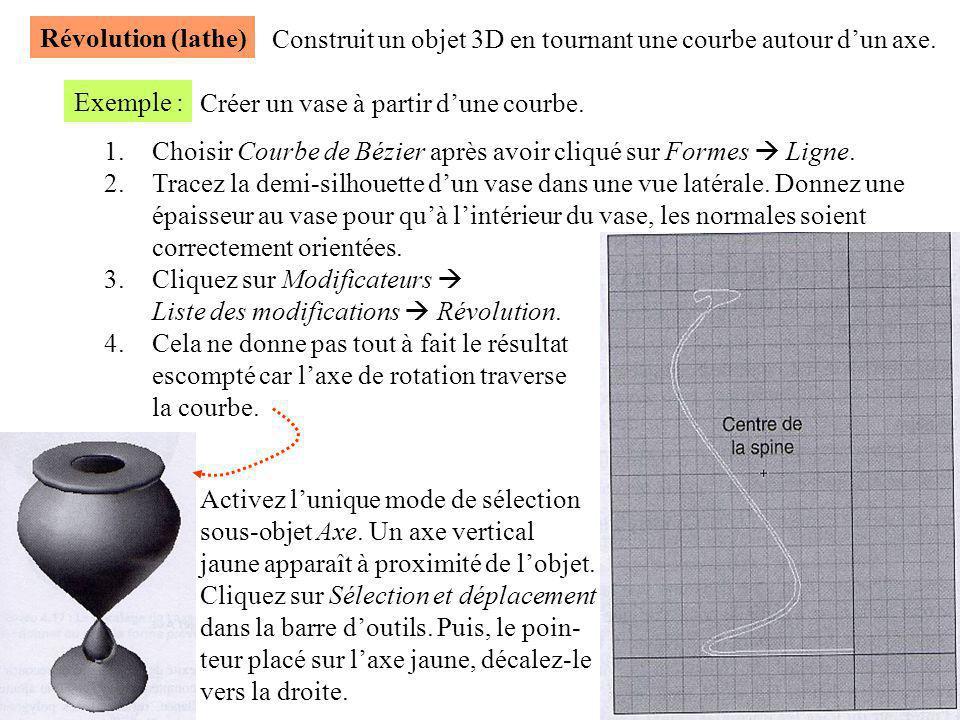 Révolution (lathe) Construit un objet 3D en tournant une courbe autour d'un axe. Exemple : Créer un vase à partir d'une courbe.