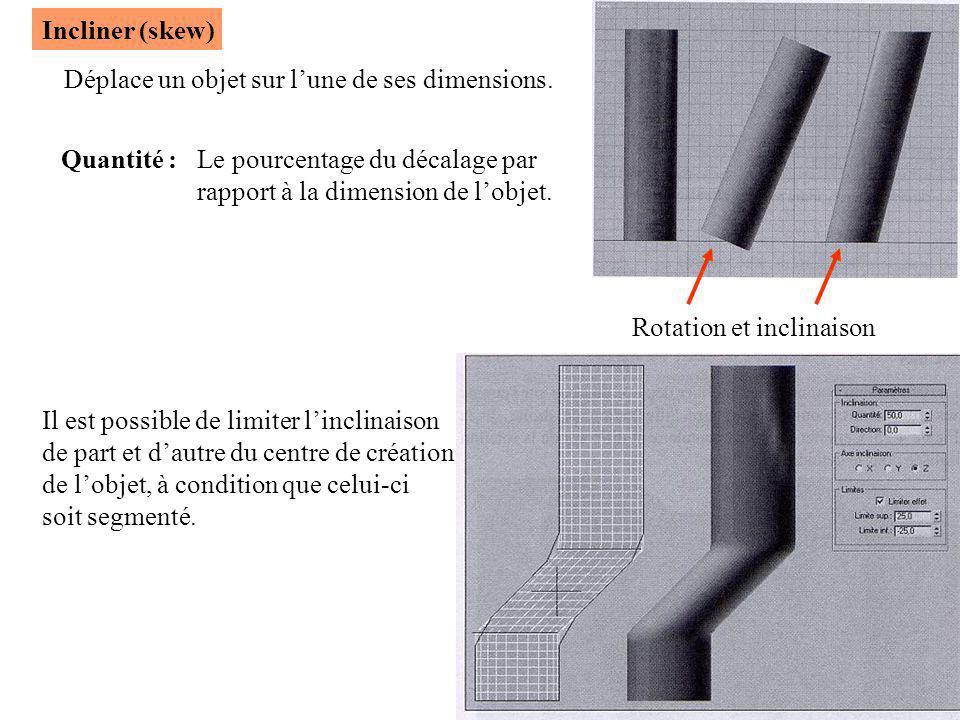 Incliner (skew) Déplace un objet sur l'une de ses dimensions. Quantité : Le pourcentage du décalage par.
