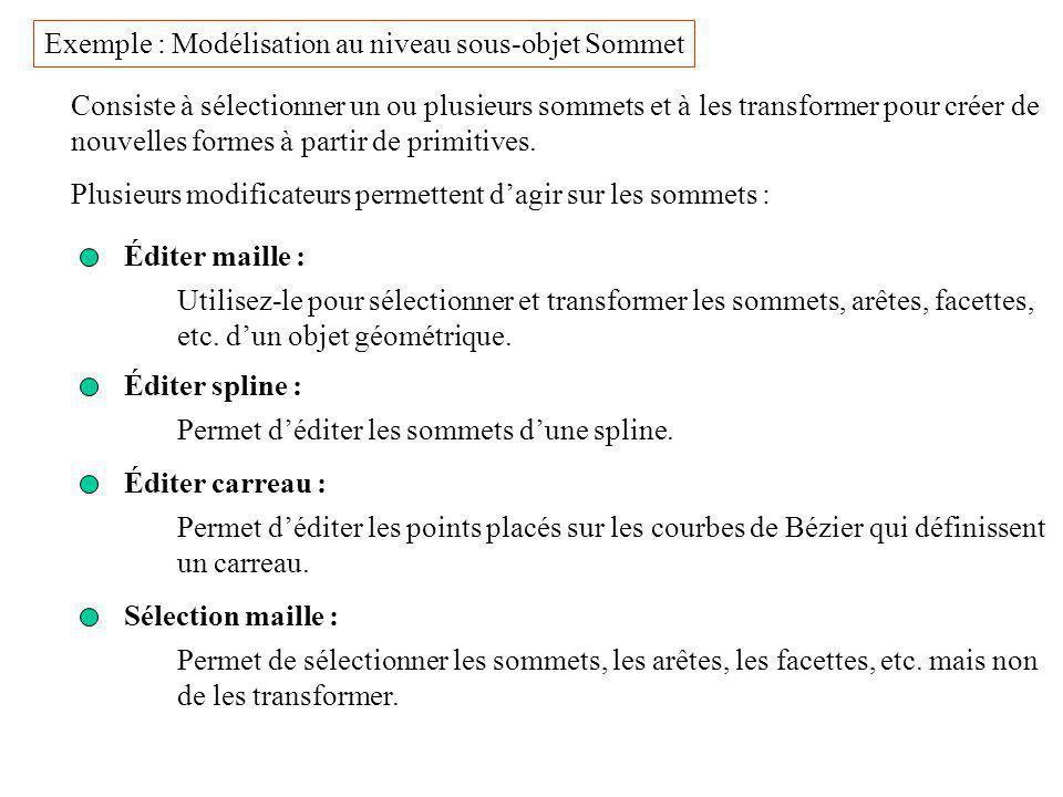 Exemple : Modélisation au niveau sous-objet Sommet