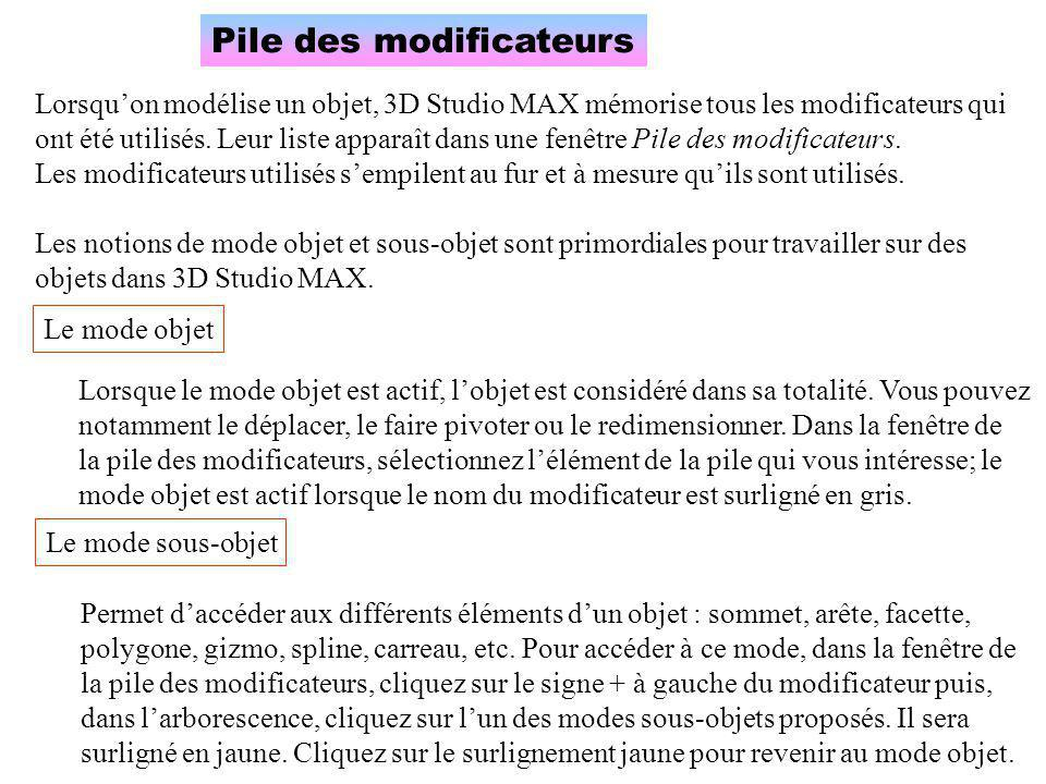 Pile des modificateurs