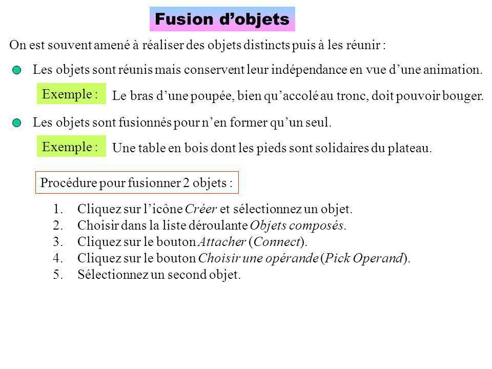Fusion d'objets On est souvent amené à réaliser des objets distincts puis à les réunir :