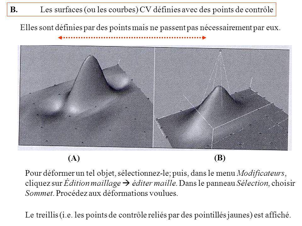 B. Les surfaces (ou les courbes) CV définies avec des points de contrôle