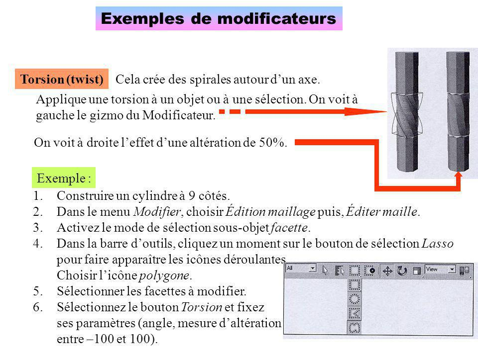 Exemples de modificateurs
