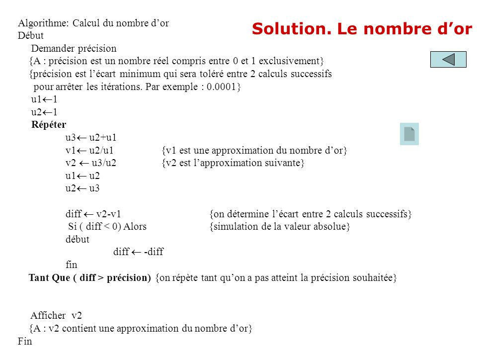 Solution. Le nombre d'or