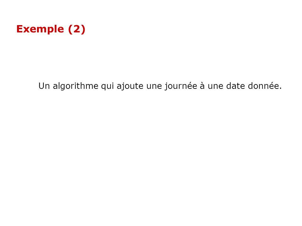 Exemple (2) Un algorithme qui ajoute une journée à une date donnée.