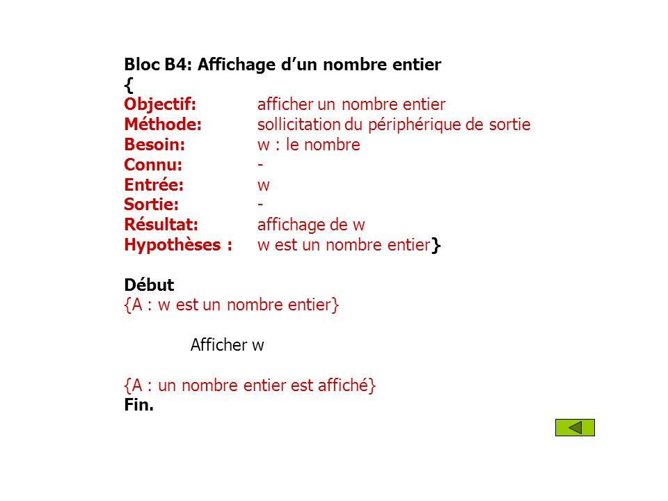 Bloc B4: Affichage d'un nombre entier