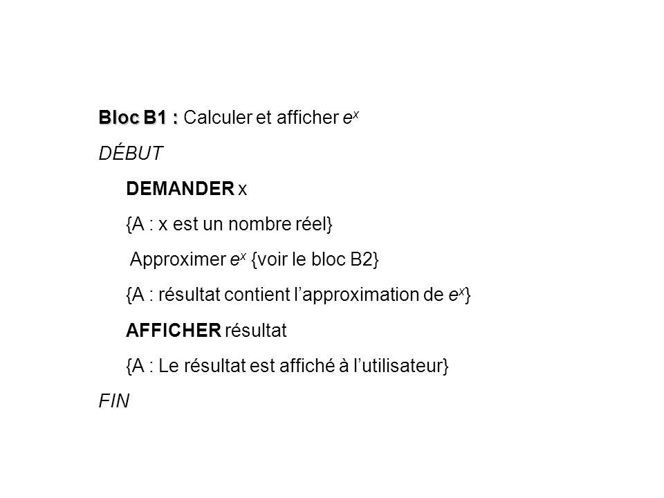Bloc B1 : Calculer et afficher ex