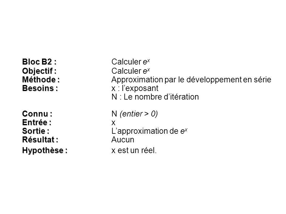 Bloc B2 : Calculer ex Objectif : Calculer ex. Méthode : Approximation par le développement en série.