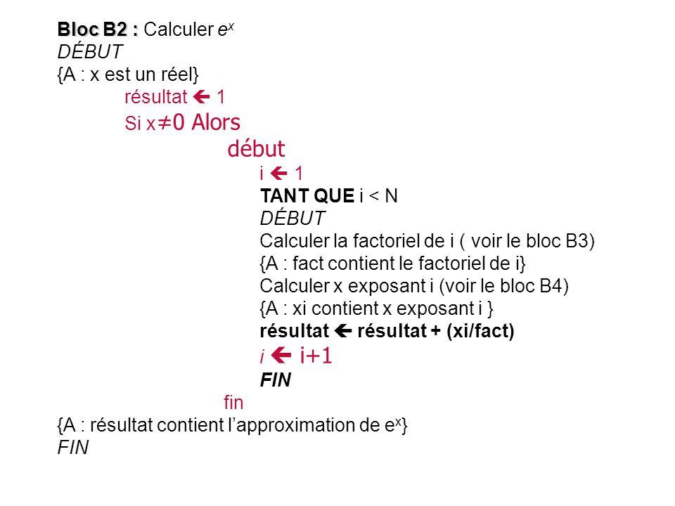début Bloc B2 : Calculer ex DÉBUT {A : x est un réel} résultat  1
