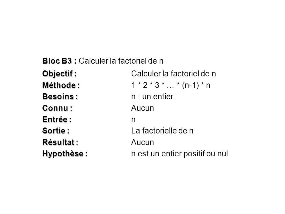 Bloc B3 : Calculer la factoriel de n