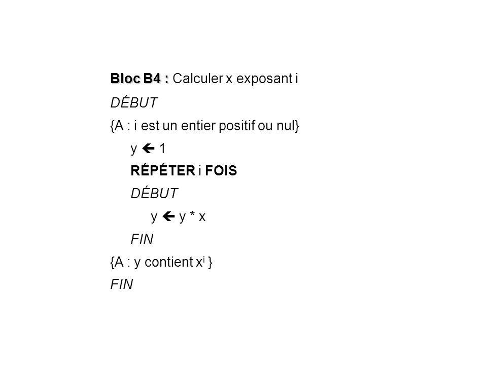 Bloc B4 : Calculer x exposant i