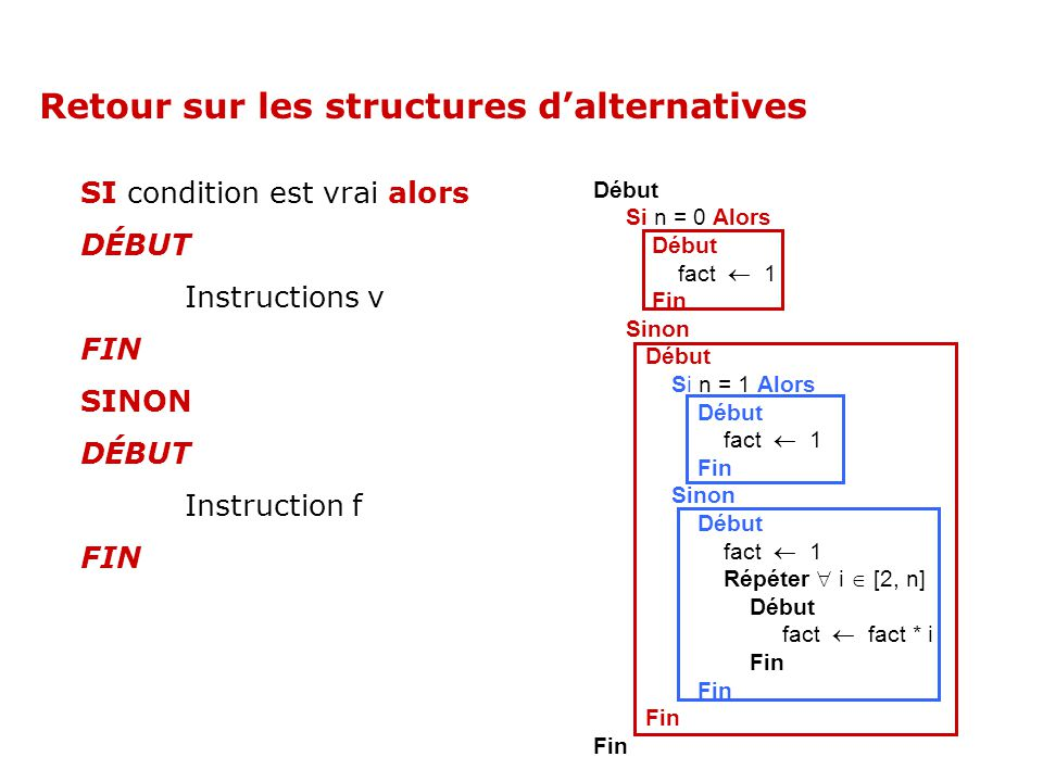 Retour sur les structures d'alternatives