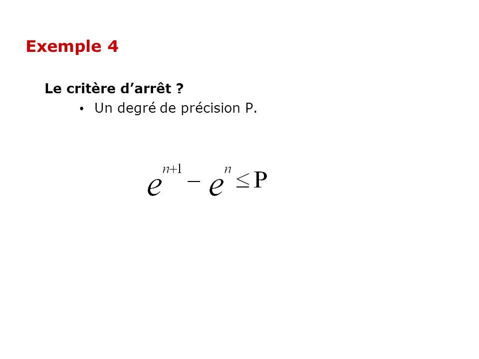 Exemple 4 Le critère d'arrêt Un degré de précision P.