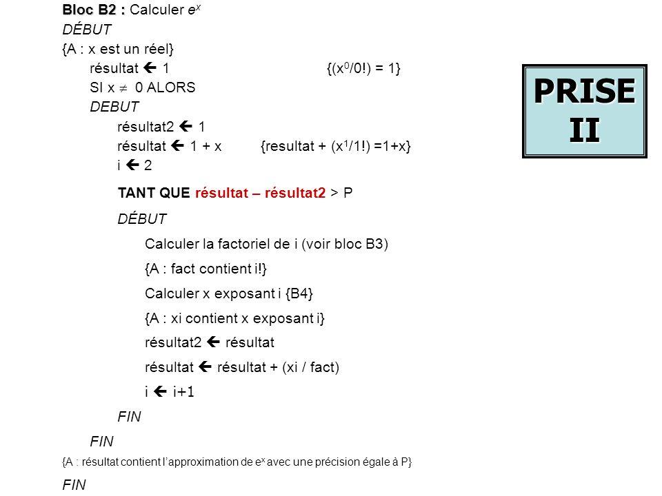 PRISE II Bloc B2 : Calculer ex DÉBUT {A : x est un réel}