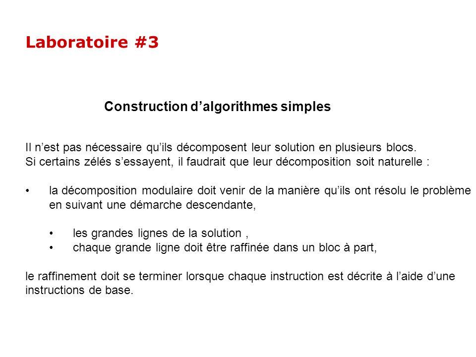 Laboratoire #3 Construction d'algorithmes simples