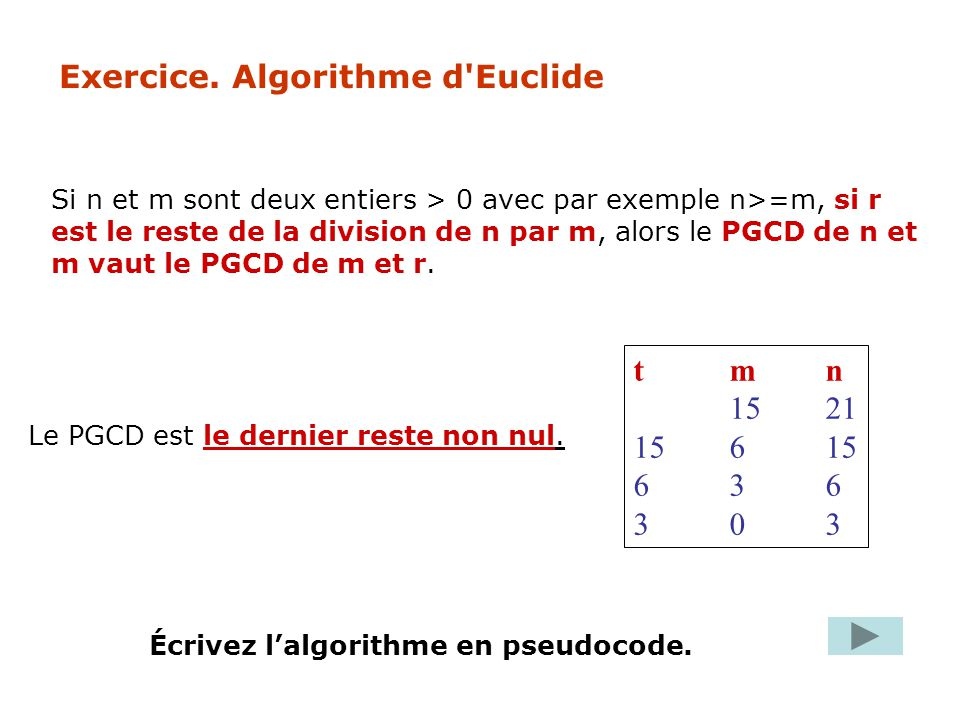 Exercice. Algorithme d Euclide