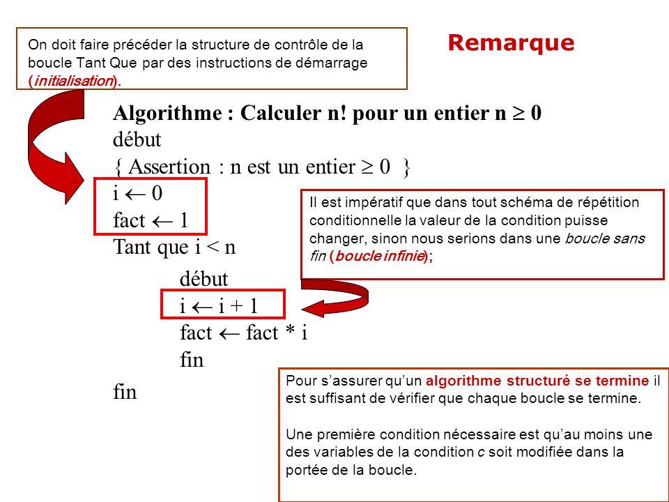 Algorithme : Calculer n! pour un entier n  0 début