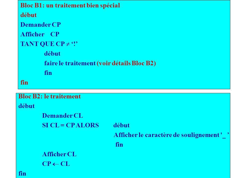 Bloc B1: un traitement bien spécial